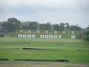 Picture of the 14 targets at Hornsby Rifle Range, notice the wind flags on each side.