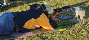 Michael Cuda takes aim in the late afternoon sunshine